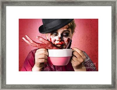 Scary Female Zombie Drinking Handmade Soup Framed Print