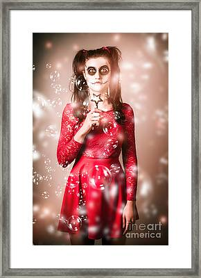 Scary Horror Voodoo Girl With Skeleton Make-up Framed Print