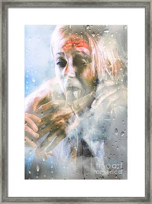Scary Horror Zombie Licking Human Hand At Window Framed Print by Jorgo Photography - Wall Art Gallery