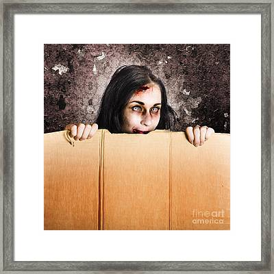 Scary Zombie Girl Advertising Halloween Price Cut Framed Print by Jorgo Photography - Wall Art Gallery