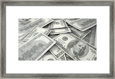 Scattered Banknote Pile Framed Print