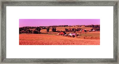 Scenic View Of A Farm, Amish Country Framed Print by Panoramic Images