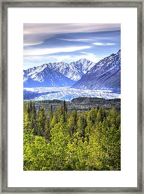 Scenic View Of Matanuska Glacier As Framed Print by Michael Criss