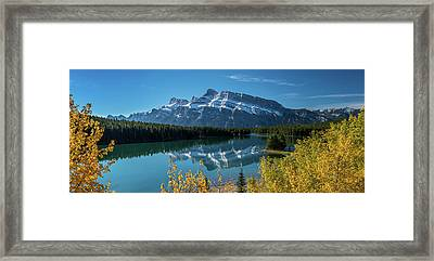 Scenic View Of Mount Rundle Reflected Framed Print