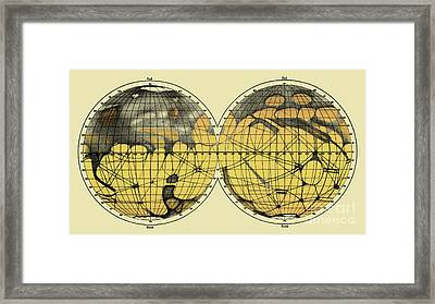 Schiaparelli Map, Canali Of Mars, 1898 Framed Print by Science Source