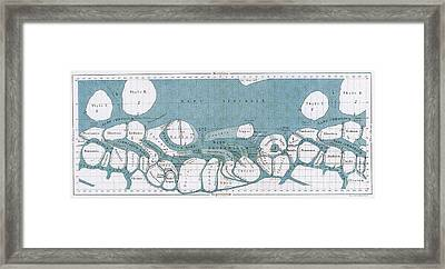 Schiaparelli Mars Map, 1877-78 Framed Print by Science Source