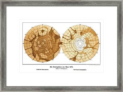 Schiaparellis Map Of Mars, 1879 Framed Print by Detlev van Ravenswaay