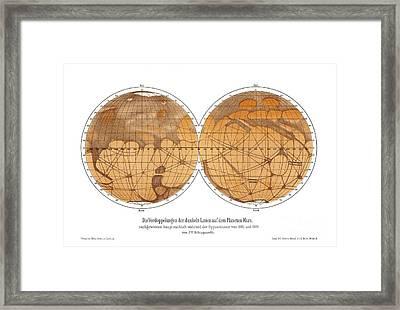 Schiaparellis Map Of Mars, 1882-1888 Framed Print by Detlev van Ravenswaay