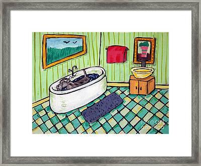 Schnauzer Taking A Bath Framed Print by Jay  Schmetz