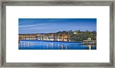 Schuylkill River  Boathouse Row Lit At Night  Framed Print by David Zanzinger