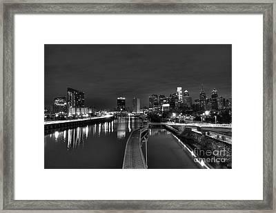 Schuylkill Skyline Riverwalk Framed Print by Mark Ayzenberg