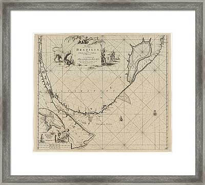 Sea Chart Of Part Of The Coast Of Brazil Framed Print
