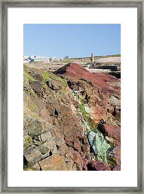 Sea Cliffs Stained Green From Copper Framed Print by Ashley Cooper