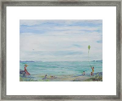 Framed Print featuring the painting Seabreeze Beach by Cathy Long