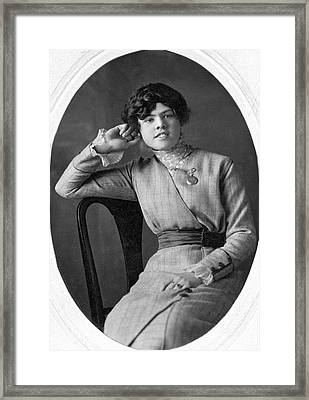 Seated Portrait Of Young Woman Framed Print by Underwood Archives