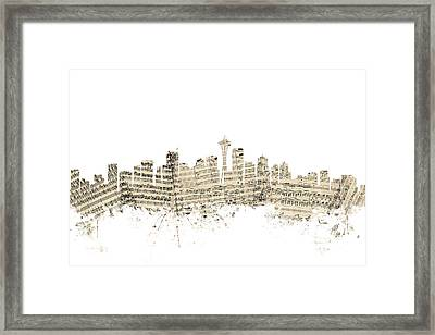 Seattle Washington Skyline Sheet Music Cityscape Framed Print by Michael Tompsett