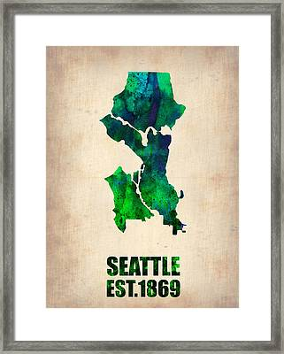 Seattle Watercolor Map Framed Print by Naxart Studio