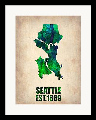 Seattle Digital Art Framed Prints