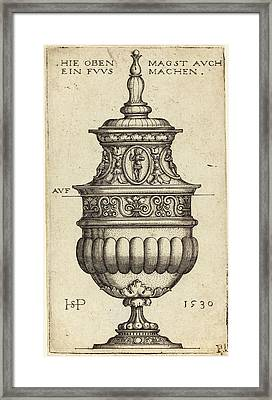 Sebald Beham German, 1500 - 1550, Double Goblet With Oval Framed Print by Quint Lox