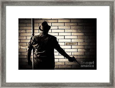 Secret Agent Silhouette About To Surrender Handgun Framed Print by Jorgo Photography - Wall Art Gallery