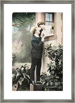 Secret Romance. Vintage Postcard 1907 Framed Print