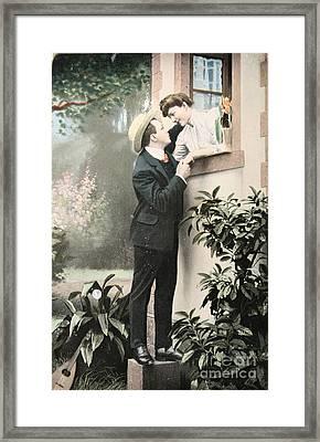 Secret Romance. Vintage Postcard 1907 Framed Print by Patricia Hofmeester