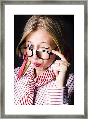 Secretive Nerd Misleading With A Wink Of Deceit  Framed Print