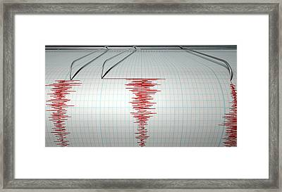 Seismograph Earthquake Activity Framed Print by Allan Swart