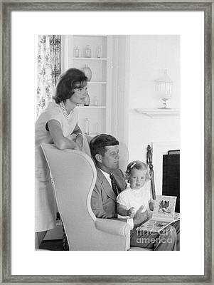 Senator John F. Kennedy With Jacqueline And Caroline Framed Print by The Harrington Collection