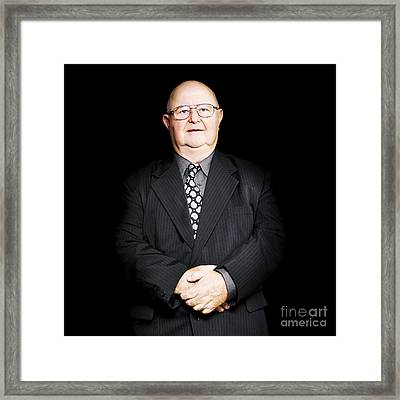 Senior Business Man Isolated On Black Background Framed Print