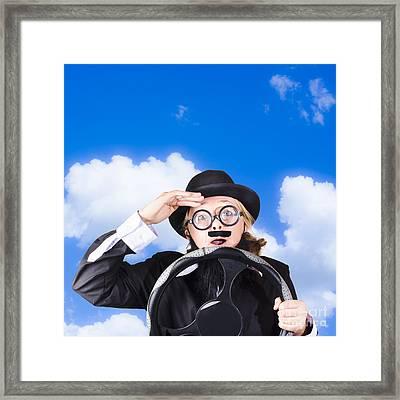 Senior Driver Holding Car Steering Wheel Framed Print by Jorgo Photography - Wall Art Gallery