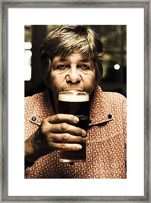Senior Person Enjoying A Cold Beer At Bowls Club Framed Print by Jorgo Photography - Wall Art Gallery