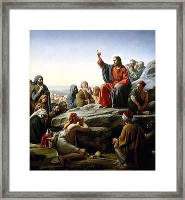 Sermon On The Mount Framed Print by Carl Bloch