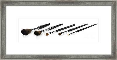 Set Of Makeup Brushes Framed Print by Jorgo Photography - Wall Art Gallery