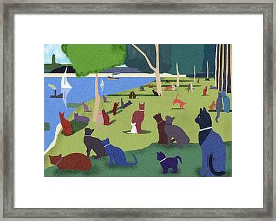 Seurat's Cats Framed Print