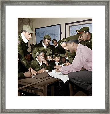Several Tuskegee Airmen At Ramitelli Framed Print by Celestial Images
