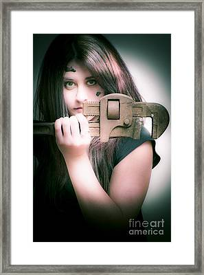 Sexy Female Auto Mechanic Framed Print by Jorgo Photography - Wall Art Gallery