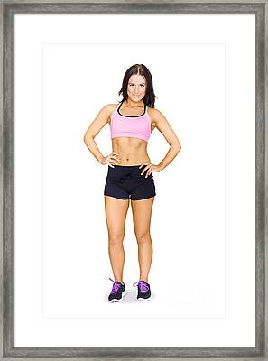 Sexy Fit Healthy And Active Young Brunette Woman Framed Print
