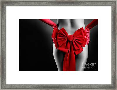 Sexy Woman Body With Red Christmas Bow Framed Print by Oleksiy Maksymenko