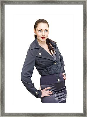 Sexy Woman In Business Fashion Striking Model Pose Framed Print