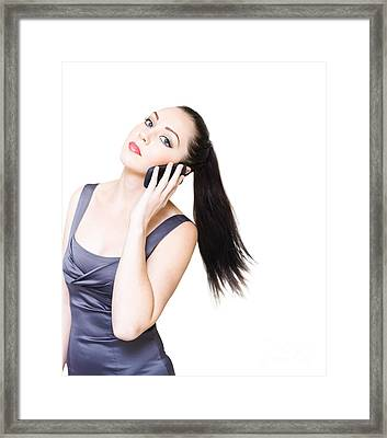 Sexy Young Business Woman On White Background  Framed Print by Jorgo Photography - Wall Art Gallery