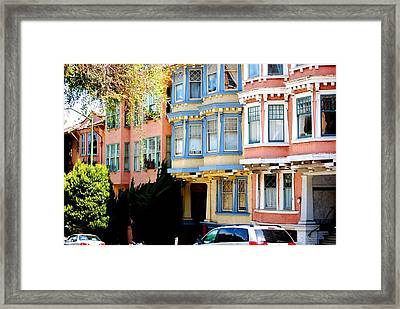 Sf Rowhouses Framed Print by Mamie Gunning