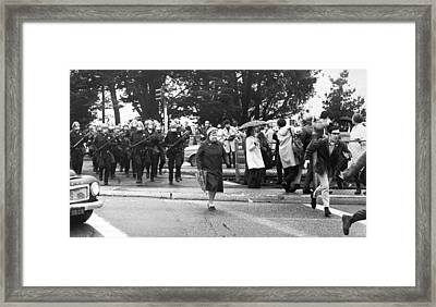 Sf State Riots Scene Framed Print by Underwood Archives