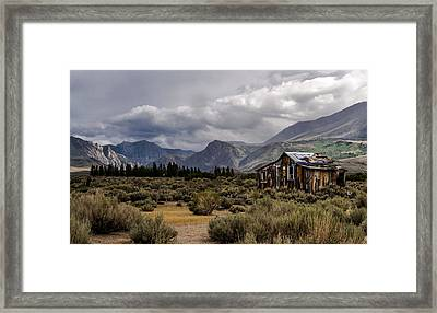 Shack In The Mountains Framed Print by Cat Connor