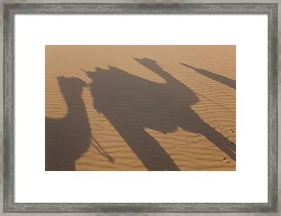 Shadows Of A Camel Train, Thar Desert Framed Print by Peter Adams