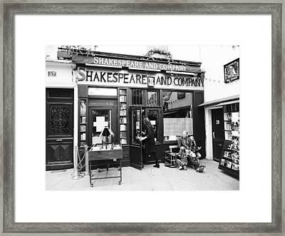 Shakespeare And Company Bookstore In Paris France Framed Print