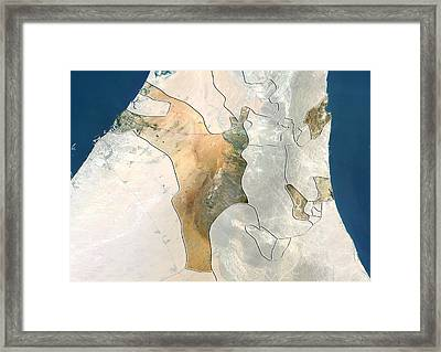 Sharjah, Uae, Satellite Image Framed Print by Science Photo Library