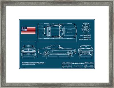 Shelby Mustang Gt350 Blueplanprint Framed Print