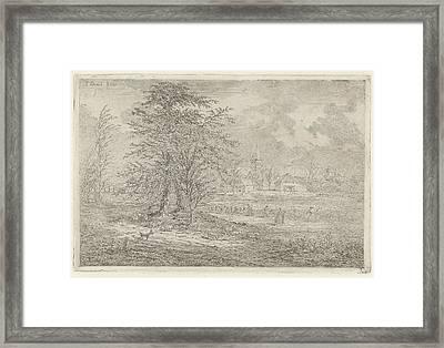 Shepherd In Cornfield, Gerardus Emaus De Micault Framed Print by Gerardus Emaus De Micault