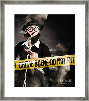 Sherlock Holmes Detective At Crime Scene Framed Print by Jorgo Photography - Wall Art Gallery